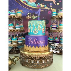 Charlton Home Senaida Moroccan 3 Piece Cake Stand Set Jasmine Birthday Cake, Aladdin Birthday Party, Indian Birthday Parties, Birthday Cakes, Cake And Cupcake Stand, Wedding Cakes With Cupcakes, Party Cakes, Cupcake Cakes, Jasmin Party