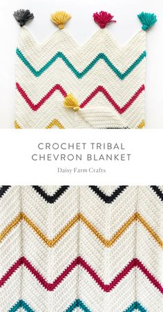 Free Pattern - Crochet Tribal Chevron Blanket,Free Pattern - Crochet Tribal Chevron Blanket Produce crochet blankets yourself Who does not enjoy a blanket where you can cover up and warm up in col. Crochet Ripple, Manta Crochet, Baby Blanket Crochet, Crochet Blankets, Crochet Stitches Patterns, Afghan Crochet Patterns, Knitting Patterns, Crochet Afghans, Knitting Ideas