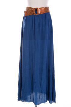 A charming blue maxi skirt with belt!  This material is so soft and the skirt fits perfectly!  So easy to pair this skirt with many different items!    Fits true to size  100% Polyester