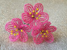 FREE SHIPPING  Fuchsia French Beaded Flower by FloralUniqueDesign