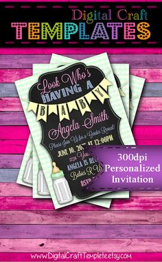 Personalized Printable Invitations | Look Who's Having a Baby | Baby Shower | Green |  #279