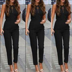 Elegant Rompers Women Jumpsuit Fashion Bodysuit Sleeveless Lace Patchwork Romper Playsuits Long Pants Plus Size
