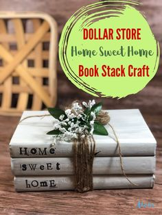 Home Sweet Home Book Stack #Craft #DollarStoreCraft #decor #homedecor Home Crafts, Fun Crafts, Crafts For Kids, Paper Crafts, Dollar Store Crafts, Dollar Stores, Stack Of Books, Diy Organization, Reuse