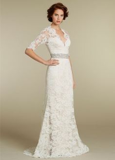 lace over a line romantic sweetheart wedding dress with three quarter sleeve | Tumblr