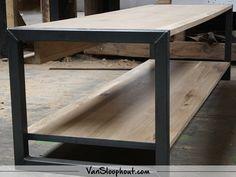 Rustiek New Oak tv meubel dubbel laags met een stalen frame! Mooi strak, maar toch industrieel meubel voor in je woning. #eikenhout #eiken #oad #staal #frame #tvmeubel #woonkamer #wonen #wooninspiratie #woontrends #interieur #interieurinspiratie #interior #living
