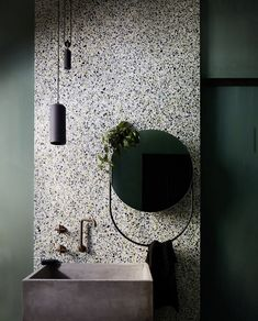 Green with envy of this Terrazzo bathroom renovation at The Bank Studio using a honed 853 Terrazzo slab as a statement. As featured in Inside Out Mag Bathroom Color Schemes, Bathroom Trends, Bathroom Spa, Bathroom Interior, Small Bathroom, Master Bathroom, Colour Schemes, Terrazzo Tile, Tadelakt