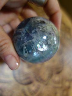 Pretty Rainbows! Aqua Blue Green and Purple Fluorite Sphere**  NEW! Take a Closer Look Here===>