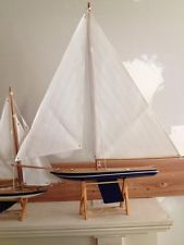 Gently Used Wooden Sail Boats-- Nautical Decor- Mint Minus