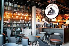 Joe & The Juice – Fun Juice and Coffee Place Opens At Quayside Isle @ Sentosa Cove Joe And The Juice, Juice Cafe, Juice Bar Design, Juice Store, Coffee Places, Shops, Bar Seating, Dark Interiors, Decorating With Pictures