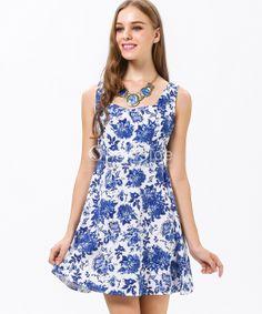 Blue and White Porcelain Print Sleeveless Short Dress - Sheinside.com
