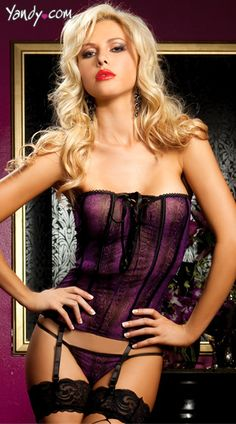 Wild Side Bustier And Thong, Purple Bustier, Mesh Bustier, Sexy Bustier Lingerie