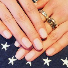 Glossy pale pink nails - Rings from Folli Follie Greece (@FolliFolliegr)