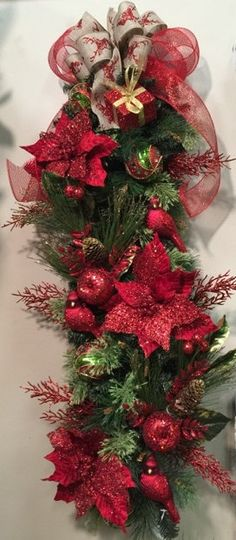 Red & Green Christmas Holiday Spruce Swag by SouthernComfortOKC