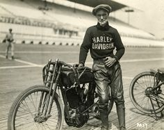Jim Davis with his Harley. Gotta respect a man who raced motorcycles in a sweater