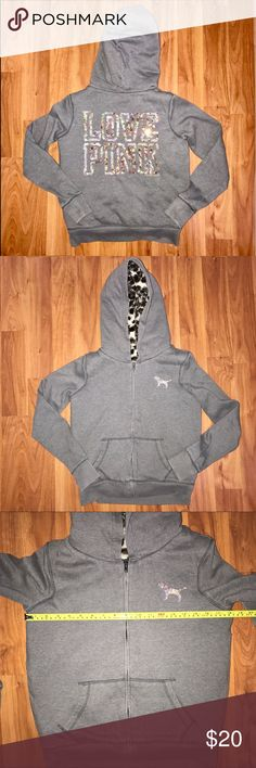 Victoria's Secret PINK Gray sequin hoodie thick xs Super cute, neutral gray color. Sequin letters and sequin VS dog. In good condition except for some pilling throughout. The inside core (not the sleeves) is chunky and has thick faux fur to keep you warm. Full zip. Hoodie. Has been worn and does show signs of wear. PINK Victoria's Secret Sweaters