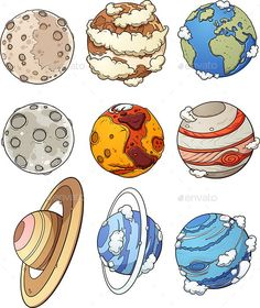 Buy Cartoon Planets by memoangeles on GraphicRiver. Cartoon planets and Earth's moon. Vector clip art illustration with simple gradients. Each in a separate layer. Planet Drawing, Earth Drawings, Space Drawings, Cute Drawings, Art And Illustration, Home Bild, Moon Cartoon, Planet Design, Space And Astronomy