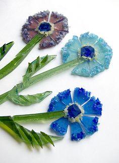 fused glass flowers in progress