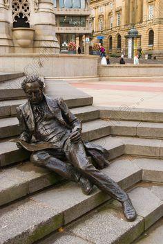 Image of Thomas Attwood statue Chamberlain square central Birmingham England UK Europe Art Sculpture, Bronze Sculpture, Statues, Birmingham England, Hans Christian, England Uk, Public Art, Urban Art, Installation Art