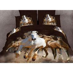 Dolce Mela, DM424K, Sheets And Sheet Sets, Dolce Mela Equestrian Stallions Luxury 6 Piece Duvet Cover Sheet Set Horse Lovers King Size Bedding Dm424K
