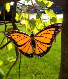 Monarch Butterfly Stained Glass Suncatcher by BirdsAndBugs1