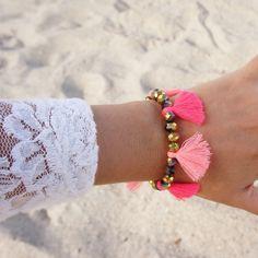 Pink Multi Tassel Bracelet