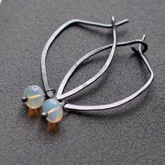 Handmade Opal Earrings Ethiopian Welo opals on handmade Sterling Silver Hoops