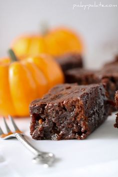 gooey pumpkin butterscotch brownies made with brownie mix, pudding mix, and butterscotch chips