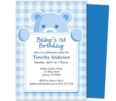 Beary Cute 1st Birthday Invitations Template. Templates for a first birthday easy to edit with Word, Publisher, Apple iWork Pages, OpenOfifce.