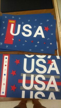 USA posters for 4th of July or team USA. Campers really enjoyed the opportunities to work with so many various materials (especially the gems!)