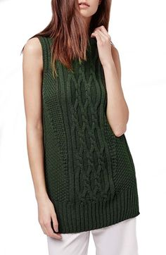 Topshop Cable Knit Sleeveless Sweater