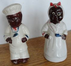 Vintage Black Americana Baker & Wife Salt and Pepper Shakers Salt Pepper Shakers, Salt And Pepper, Vintage Black, Retro Vintage, Unique Gardens, Wall Mounted Tv, Collectible Figurines, Vintage Pottery, Kitsch