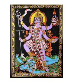 Handmade Goddess Kali Wall Hanging Tapestry Embellished with Gold Sequins (Large Size). Indian Tapestry, Bohemian Tapestry, Bohemian Art, Kali Mata, Small Tapestry, Tapestry Wall Hanging, Wall Hangings, Tree Of Life Art, Kali Goddess