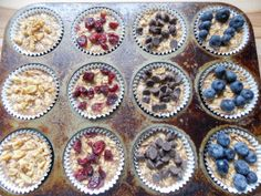 To-Go Baked Oatmeal Recipe Serving size: 1 plain oat muffin Calories: 170 Fat: 5.3 Saturated fat: 0.7 Carbohydrates: 28.2 Fiber: 1.9 Protein: 3.5