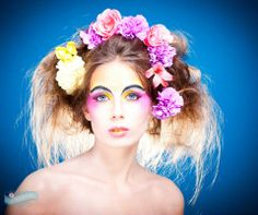 Jo Rutherford Photography Model - Sarah Reed  Make up by - www.victoria-thomas.co.uk  #flowers #headdress #creativemakeup #colours #yellowmakeup #pinkmakeup