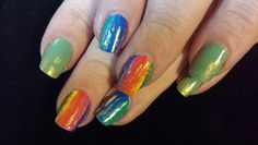 Water color rainbow nail art. Inspired by Robin Moses.