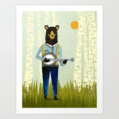 Bear's Bourree - Bear Playing Banjo Art Print by Prelude Posters - $18.00