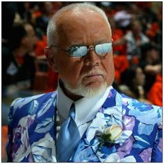 Hockey Night in Canada would not be complete without Don Cherry. And Don Cherry would not be complete without a crazy, eye-popping suit. Don Cherry, I Am Canadian, Canada Eh, Hockey Cards, National Hockey League, Boston Bruins, Sharp Dressed Man, Nhl, Love Him