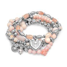 Rose Quartz Beads & Silver Multi-charm Stretch Bracelet Set – Sparkle & Jade