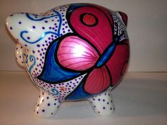 Hand painted, made to order champage glasses, great for Hen Do and other special occasions. Hand painted Piggy Banks, great as gifts. Pig Bank, Pig Pig, Ceramic Shop, Money In The Bank, Pottery Ideas, Rubber Duck, Pigs, Ducks, Christening