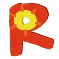 Wooden Letter - R - Bright Red with Sun by Tatutina. $8.00