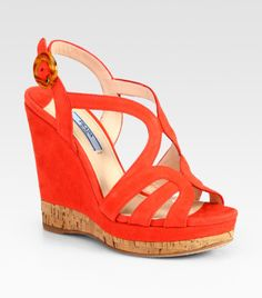 Coral Wedge Shoes | Prada Suede and Cork Multistrap Wedge Sandals in Red (coral) - Lyst