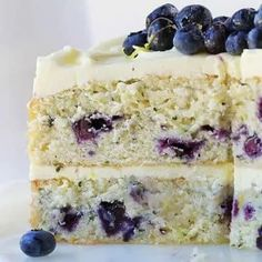 Lemon Blueberry Cake {VIDEO} | i am baker Blueberry Zucchini Cake, Lemon Buttercream, I Am Baker, Cake Videos, Gluten Free Cakes, Healthy Desserts, Brownies, Cake Recipes, Deserts