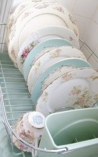 "Pretty pastels....these are beautiful!!!! ""What an awesome idea for my new kitchen..Country French kitchen with plate holders ...I have a collection of china just waiting for display!!!"" Mismatched China, Vintage China, Vintage Dishware, Vintage Dinnerware, Antique China, Vintage Plates, Vintage Dishes, Vintage Stil, Vintage Kitchen"