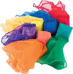 Colourful, fluttering scarves with mini crunchy bean bags. A perfect sensory experience, ideal for older people as the scarf slows the speed of the beanbag.  See product video below.