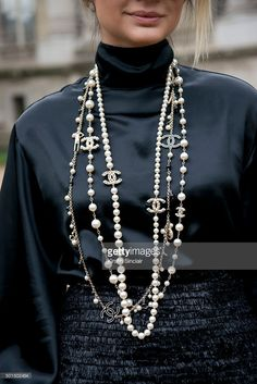 Fashion Blogger Thassia Naves wears a Chanel necklace, skirt and shirt on day 8 during Paris Fashion Week Spring/Summer 2016/17 on October 6, 2015 in Paris, France. (Photo by Kirstin Sinclair/Getty Images)Thassia Naves