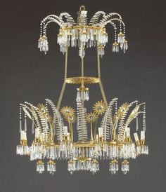 A Fine Russian Neoclassical gilt metal and glass twelve light chandelier First quarter 18th century