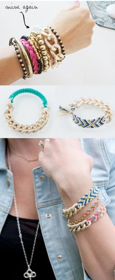 These bracelets are sure to impress and look quite expensive, but all they require is some gold chain and friendship bracelet yarn, both of which you can find at a craft store like Michael's Art Supply. Make one signature piece or stack a bunch for a layered look!