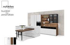Parma este inspirația noastră pentru un exemplu de mobilier de bucătărie cu insulă și extensie de masă pentru dining room. Ansamblul este construit cu spațiu generos pentru depozitare, vitrină și etajere deschise pentru unitățile de perete, iar insula cu zone de spălare și gătire cu finisaj de marmură inspiră un stil italian tipic renascentist. Materiale: 1. HPL cu aspect de marmură Statuario 2. Bilaminat lemn_Noce Americano 3. Lăcuit mat_Titan White Corner Desk, Furniture, Design, Home Decor, Corner Table, Decoration Home, Room Decor, Home Furnishings