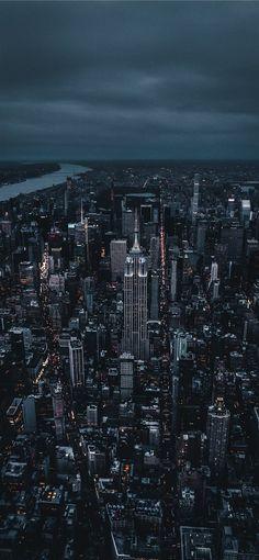 New york dark night city aerial view 10802160 wallpaper