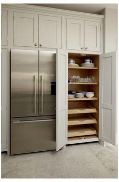 Kitchen Pantry Design, Kitchen Pantry Cabinets, Modern Kitchen Design, Kitchen Layout, Home Decor Kitchen, Interior Design Kitchen, Kitchen Living, Kitchen Storage, Kitchen Ideas